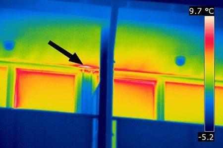 Durch Wechsel des Objektivs (hier 7° Optik) konnte die Schadstelle von gleicher Position aus näher untersucht werden.